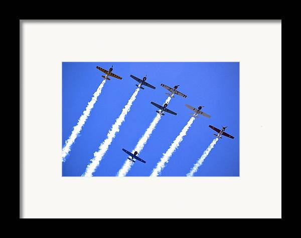 Flight Formation Framed Print featuring the photograph Yak 52 Formation by Phil 'motography' Clark