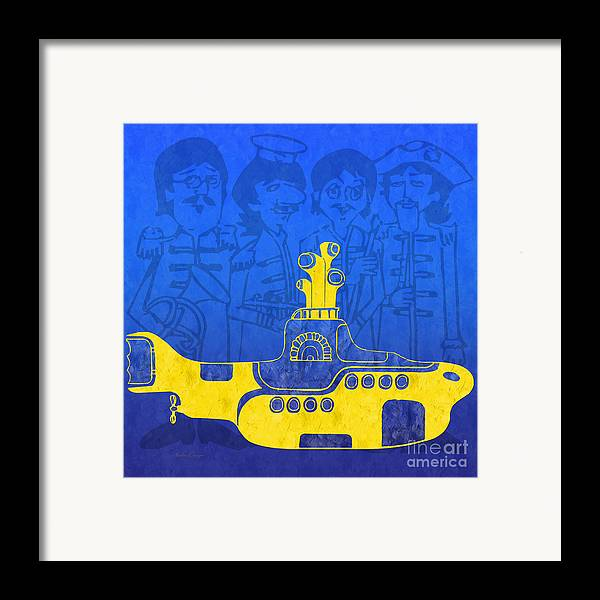 Andee Design Yellow Submarine Framed Print featuring the digital art Yellow Submarine by Andee Design