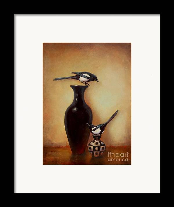 Black And White Framed Print featuring the painting Yin Yang - Magpies by Lori McNee