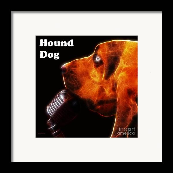 Animal Framed Print featuring the photograph You Ain't Nothing But A Hound Dog - Dark - Electric - With Text by Wingsdomain Art and Photography