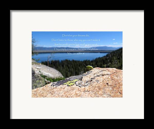 Inspiration Point Framed Print featuring the photograph You Can Make It. Inspiration Point by Ausra Huntington nee Paulauskaite
