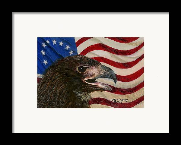 Eagle Framed Print featuring the painting Young Americans by Sherryl Lapping