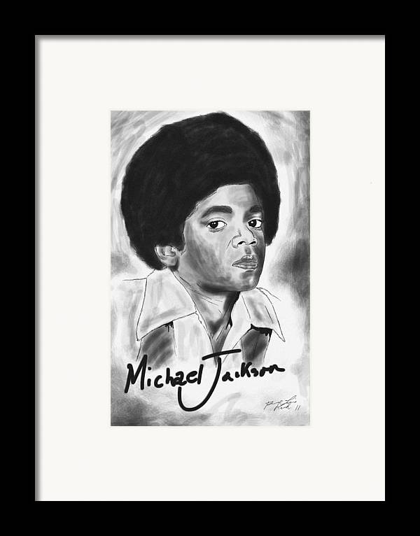 Young Michael Jackson Framed Print featuring the drawing Young Michael Jackson by Pierre Louis