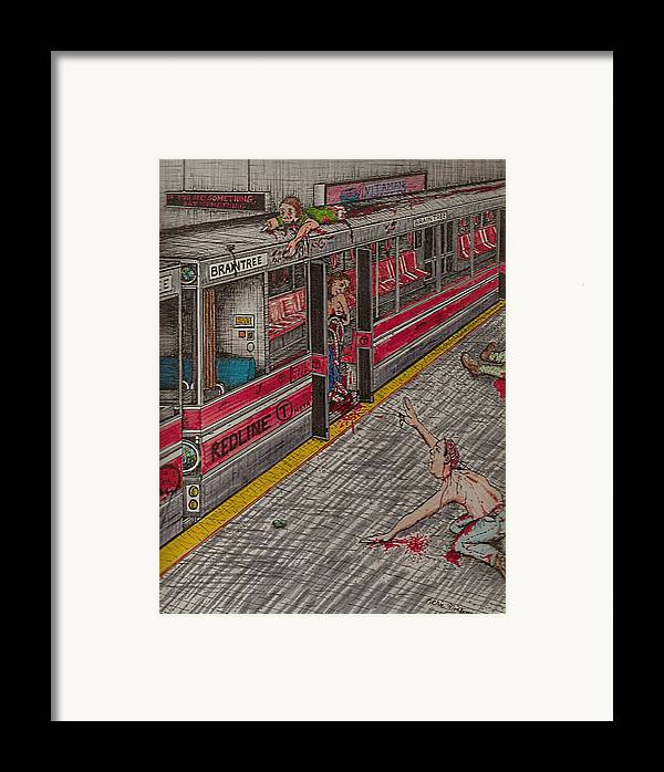 Subway Framed Print featuring the painting Zombies On The Red Line by Richie Montgomery