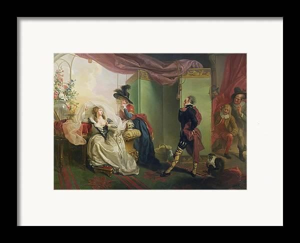 Malvolio Framed Print featuring the painting Malvolio Before Olivia - From 'twelfth Night' by Johann Heinrich Ramberg
