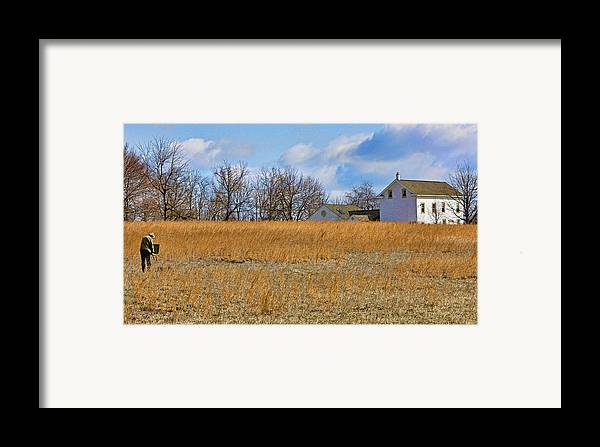 Bucks County Framed Print featuring the photograph Artist In Field by William Jobes
