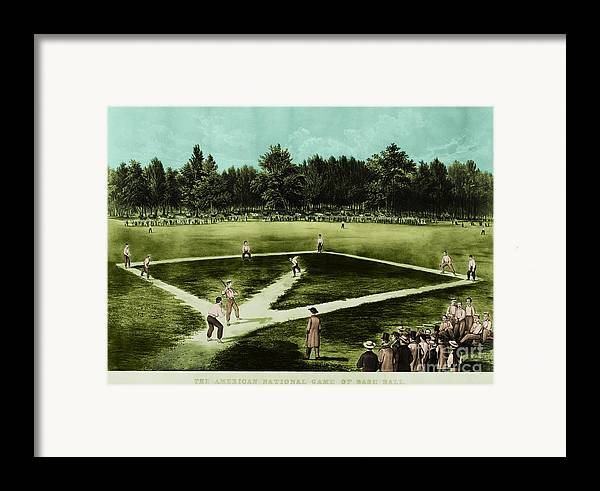 Baseball Framed Print featuring the photograph Baseball In 1846 by Omikron