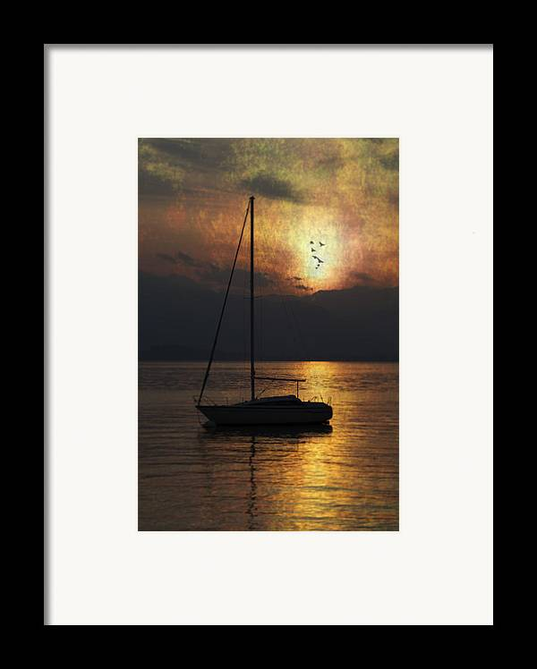 Boat Framed Print featuring the photograph Boat In Sunset by Joana Kruse