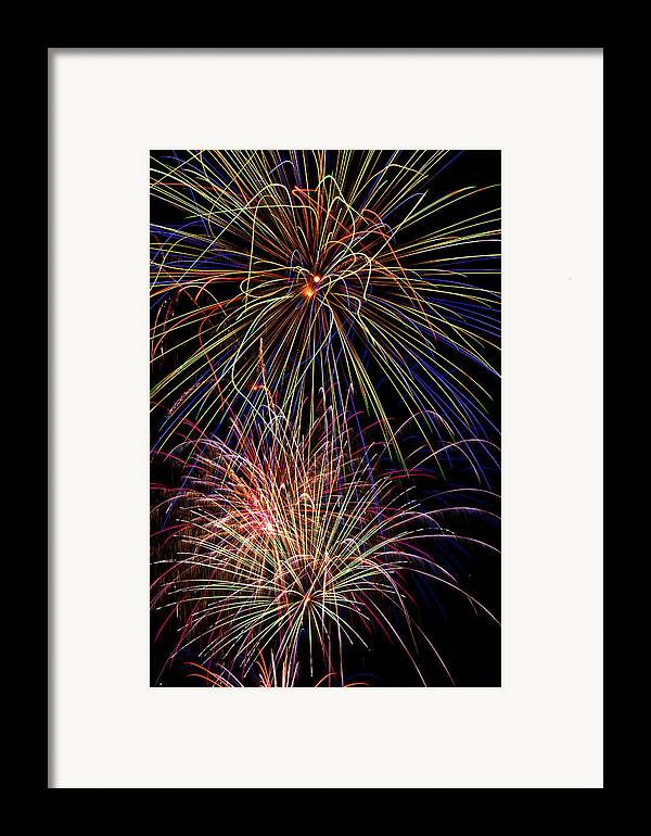 Fireworks 4th Of July Framed Print featuring the photograph Fireworks Celebration by Garry Gay