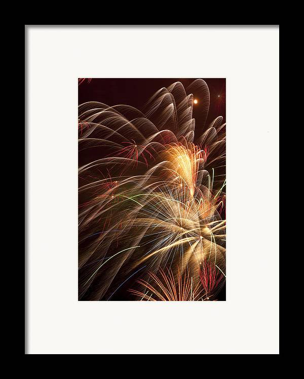 Fireworks 4th Of July Framed Print featuring the photograph Fireworks In Night Sky by Garry Gay
