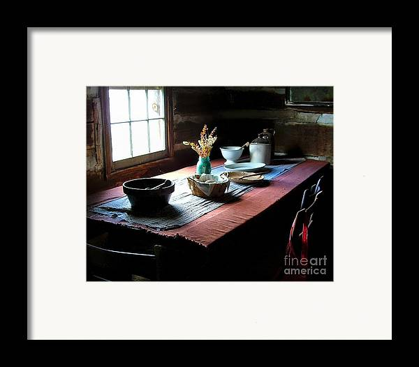 Old Cabins Framed Print featuring the photograph Old Cabin Table by Julie Dant