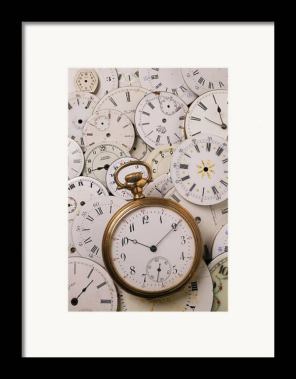 Time Framed Print featuring the photograph Old Pocket Watch On Dail Faces by Garry Gay