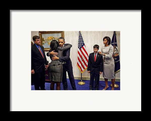 History Framed Print featuring the photograph President And Michelle Obama Greet by Everett