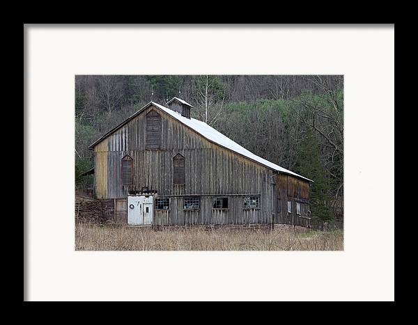 Tin Framed Print featuring the photograph Rustic Weathered Mountainside Cupola Barn by John Stephens