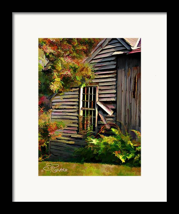 Shed Framed Print featuring the painting Shed by Suni Roveto