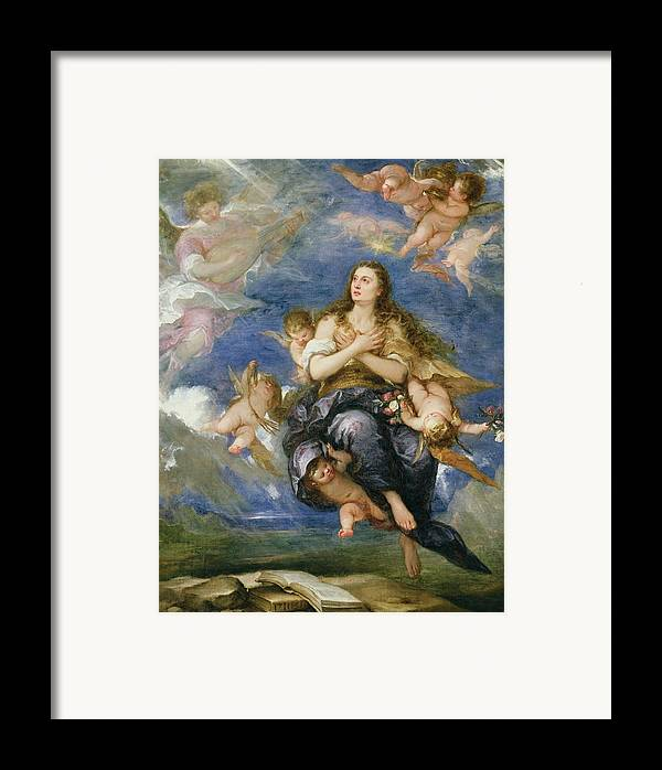 The Assumption Of Mary Magdalene (oil On Canvas) Putti; Cherub; Angel; Book; Lute; Ascension; Angel Framed Print featuring the painting The Assumption Of Mary Magdalene by Jose Antolinez