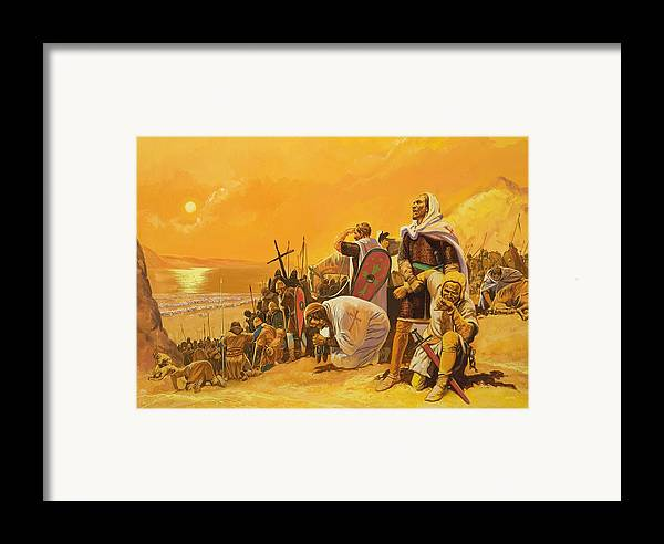 Orange; Soldier; Middle East; Heat; Sun; Cross; Christianity; Christendom; Suffering; Exhaustion; Water; Land; Desert; Shield; Armour; C11th; Croisades; Holy War; Arid; Parched; Harsh Conditions; Male; Children's Illustration Framed Print featuring the painting The Crusades by Gerry Embleton