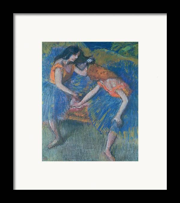 Ballet; Ballerinas; Ballerina Framed Print featuring the pastel Two Dancers by Edgar Degas