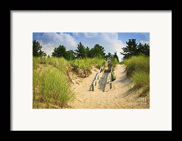 Beach Framed Print featuring the photograph Wooden Stairs Over Dunes At Beach by Elena Elisseeva