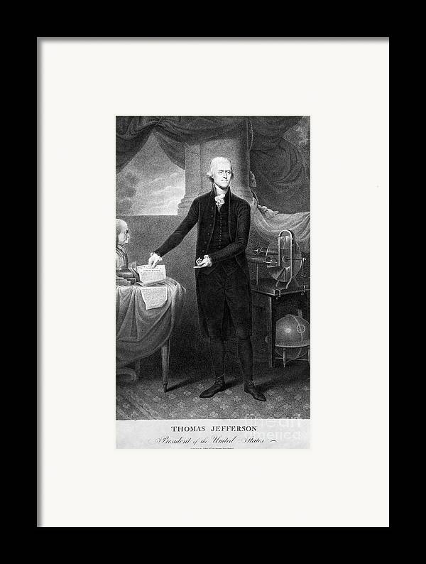 1801 Framed Print featuring the photograph Thomas Jefferson (1743-1826) by Granger