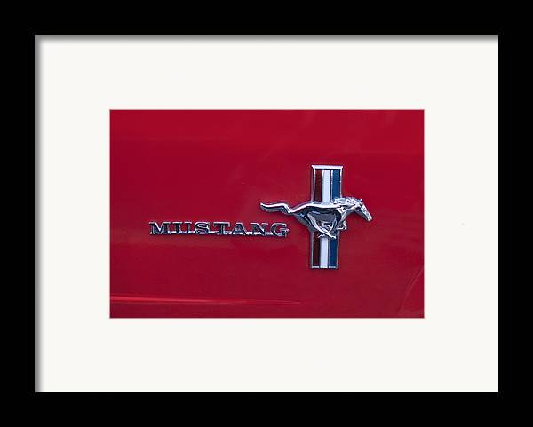 1965 Ford Mustang Framed Print featuring the photograph 1965 Ford Mustang Emblem 4 by Jill Reger