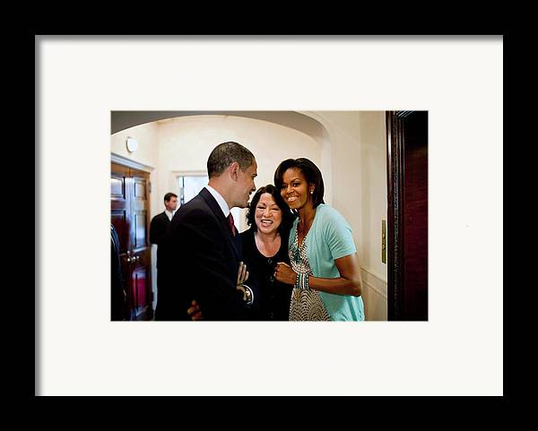 History Framed Print featuring the photograph President And Michelle Obama by Everett