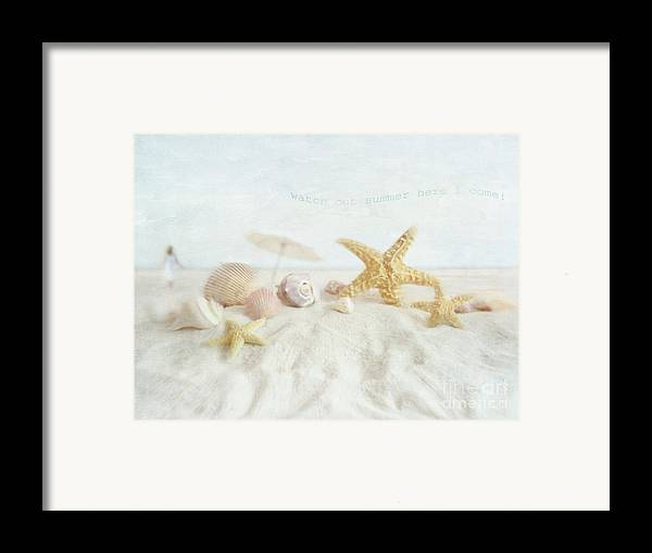 Aquatic; Background; Beach; Blue; Climate; Coast; Coastline; Cockleshell; Conch; Copy; Day; Idyllic; Marine; Nature; Woman; Object; Ocean; Outdoors; Sand; Sea; Seascape; Seashell; Seashore; Shell; Sky; Space; Summer; Sunlight; Sunny; Sunshine; Tourism; Tranquil; Travel; Tropical; Vacations; Water; Unbrella; Framed Print featuring the photograph Starfish And Seashells At The Beach by Sandra Cunningham