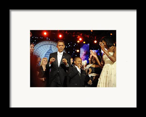 History Framed Print featuring the photograph President And Michelle Obama Dance by Everett