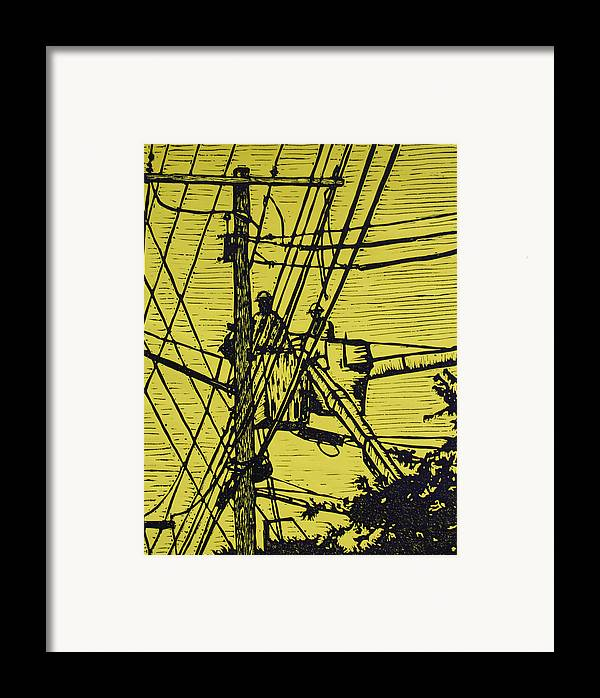 Powerlines Framed Print featuring the drawing Working On Lines by William Cauthern