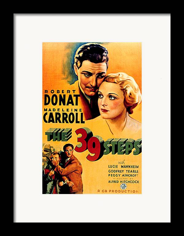 1930s Movies Framed Print featuring the photograph 39 Steps, The, Robert Donat, Madeleine by Everett