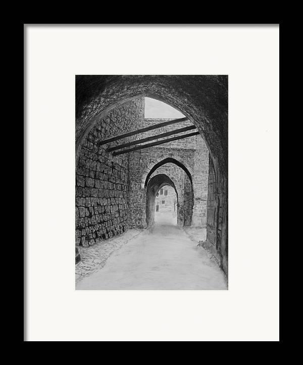 Jerusalem Framed Print featuring the drawing Jerusalem Old Street by Marwan Hasna - Art Beat