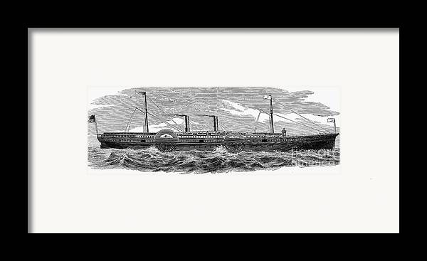 1867 Framed Print featuring the photograph 4 Wheel Steamship, 1867 by Granger