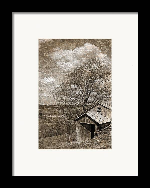Tin Framed Print featuring the photograph Rustic Hillside Barn by John Stephens