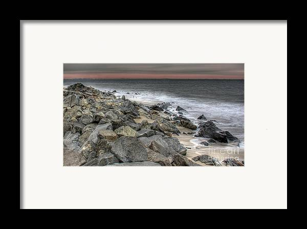 A Cold Day On A December Beach Framed Print featuring the photograph A Cold Day On A December Beach by Lee Dos Santos