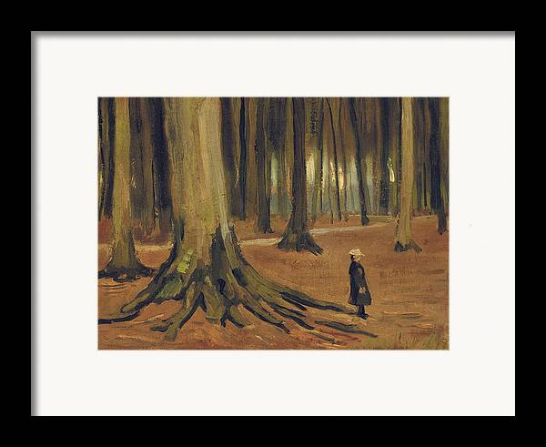 Vincent Van Gogh Framed Print featuring the painting A Girl In A Wood by Vincent van Gogh
