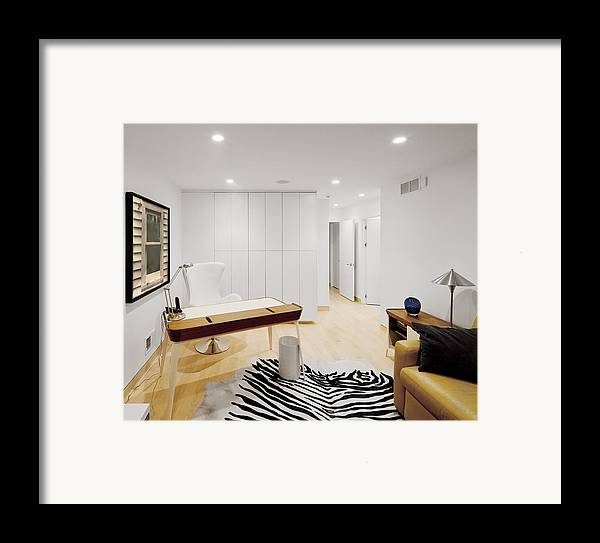 Inside Framed Print featuring the photograph A Home Office. A Black And White Zebra by Christian Scully