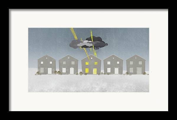 Horizontal Framed Print featuring the digital art A Row Of Houses With A Storm Cloud Over One House by Jutta Kuss