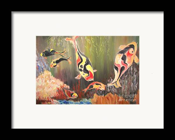 Fish Framed Print featuring the painting A School Of Koi by Rachel Carmichael