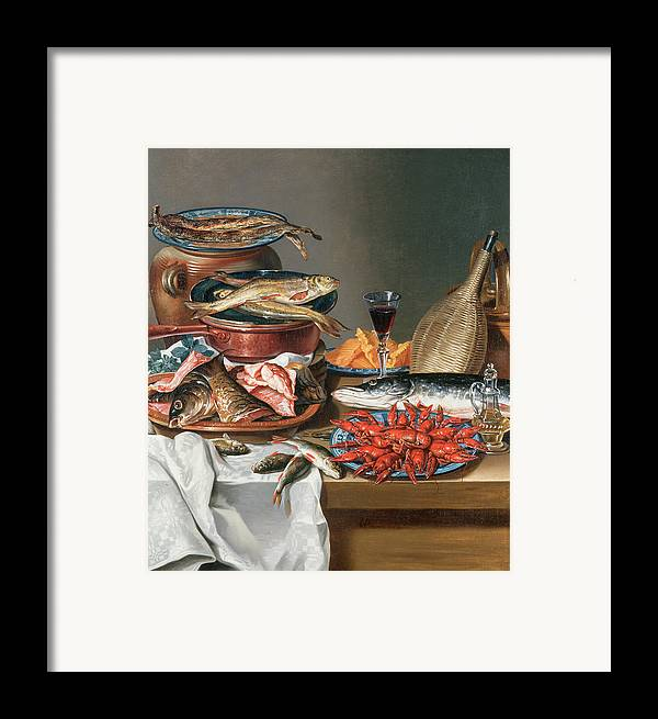 Olive Oil; Tablecloth; Herrings; Plate; Salmon; Filleted Framed Print featuring the painting A Still Life Of A Fish Trout And Baby Lobsters by Anton Friedrich Harms