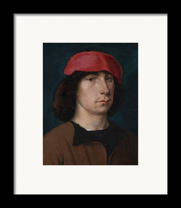 Young Framed Print featuring the painting A Young Man In A Red Cap by Michiel Sittow