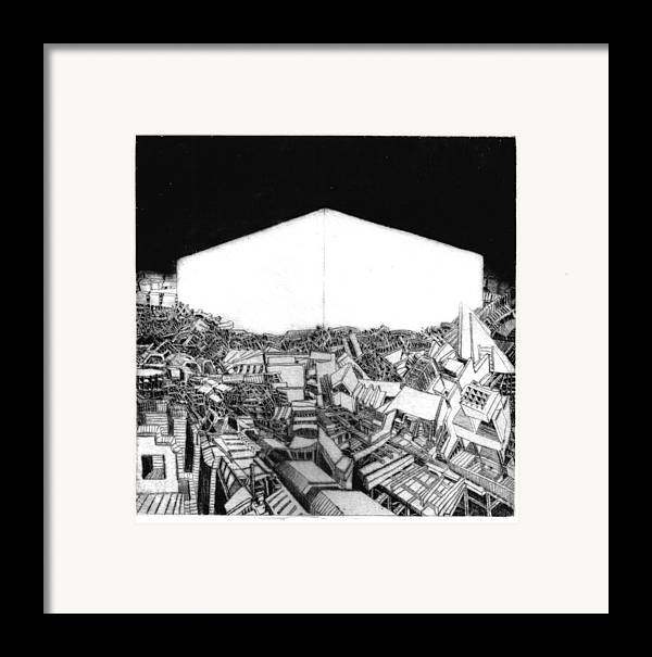 Abstract Framed Print featuring the drawing Abstract Europe 2054 by Waldemar Szysz