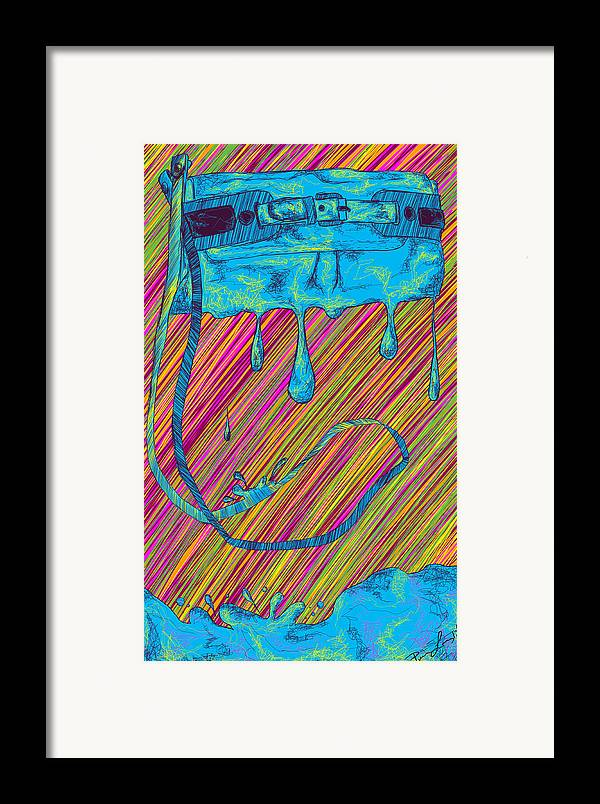 Abstract Handbag Drips Color Framed Print featuring the painting Abstract Handbag Drips Color by Pierre Louis