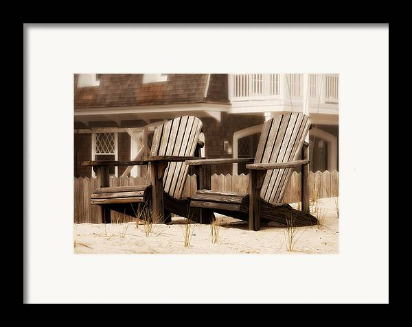 Adirondack Chairs On The Beach Framed Print featuring the photograph Adirondack Chairs On The Beach - Jersey Shore by Angie Tirado