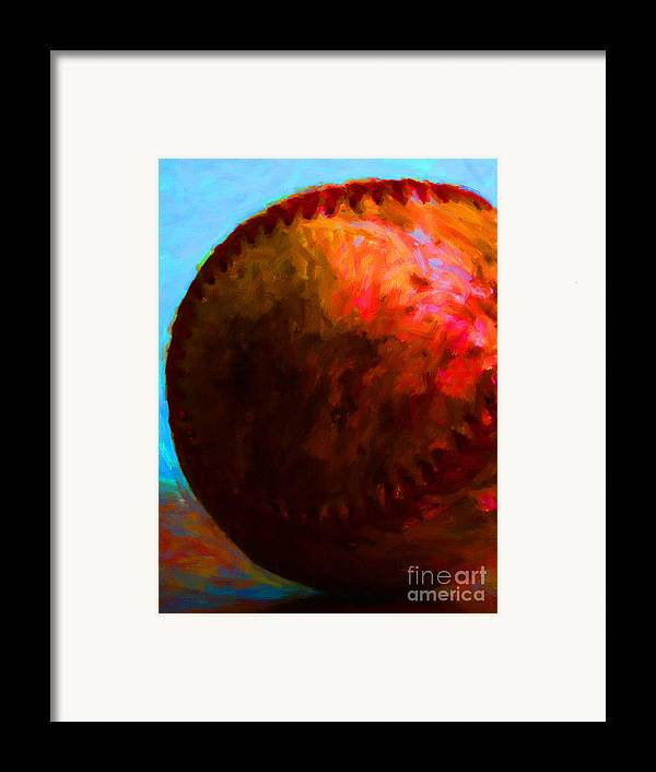 Baseball Framed Print featuring the photograph All American Pastime - Baseball Version 3 - Painterly by Wingsdomain Art and Photography