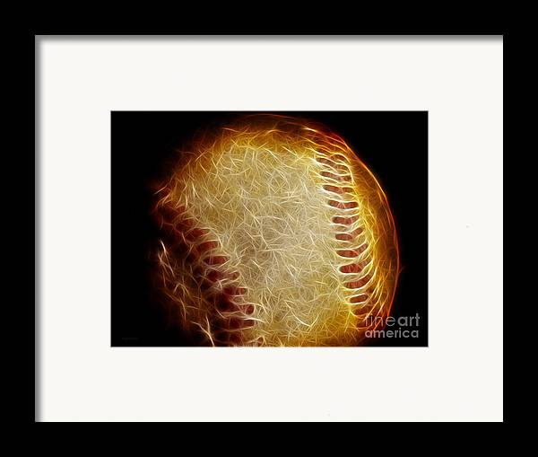 Baseball Framed Print featuring the photograph All American Pastime - The Fastball by Wingsdomain Art and Photography