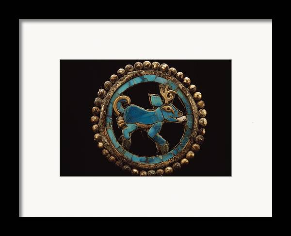 Deer Framed Print featuring the photograph An Ancient Moche Indian Ear Ornament by Bill Ballenberg