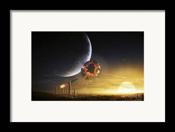 Cataclysm Framed Print featuring the digital art An Apocalyptic Scene Showing A Gravity by Tobias Roetsch