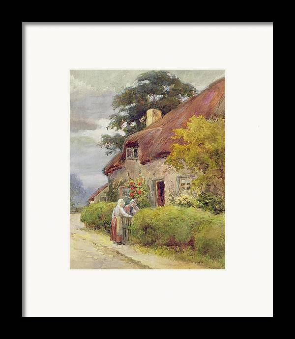 Thatched Cottage Framed Print featuring the painting An Evening Gossip by Joshua Fisher