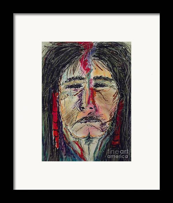 Native American Portrait Of One Of My Spirit Guides Framed Print featuring the mixed media Ancient One by Nashoba Szabol
