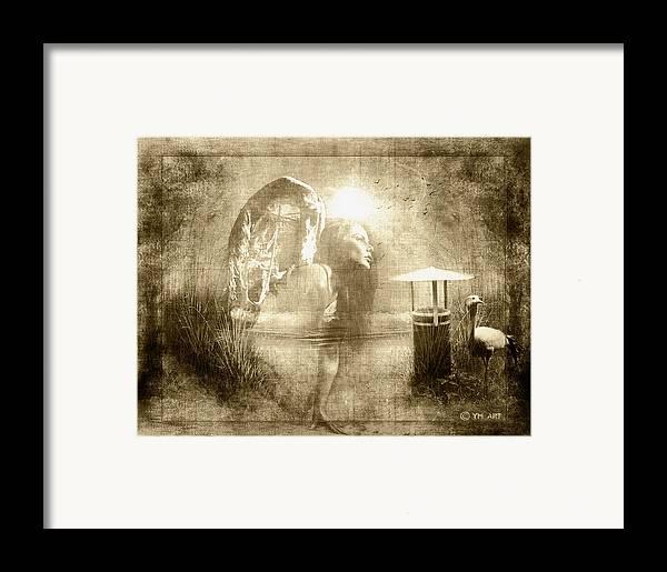 Angel Framed Print featuring the digital art Angel Spirit Sepia by Yvon van der Wijk